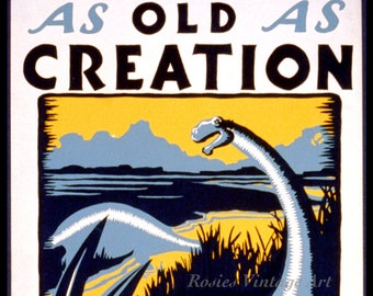 POSTER AS OLD AS CREATION DINOSAUR SYPHILIS IS NOW CURABLE VINTAGE REPRO FREE SH
