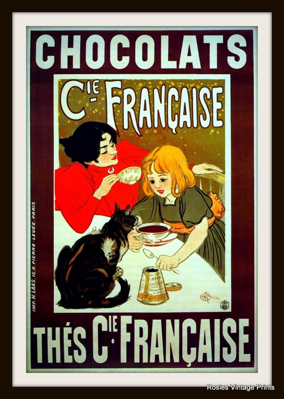 Kitchen VINTAGE CHOCOLATE POSTER Fortin Chocolate Ad Chocolate Lover Gift