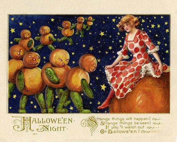 Girl On Pumpkin With Monsters Vintage Halloween Art Etsy