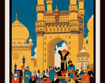 See India 1920s Vintage Travel Poster - Giclee Art Re-Print