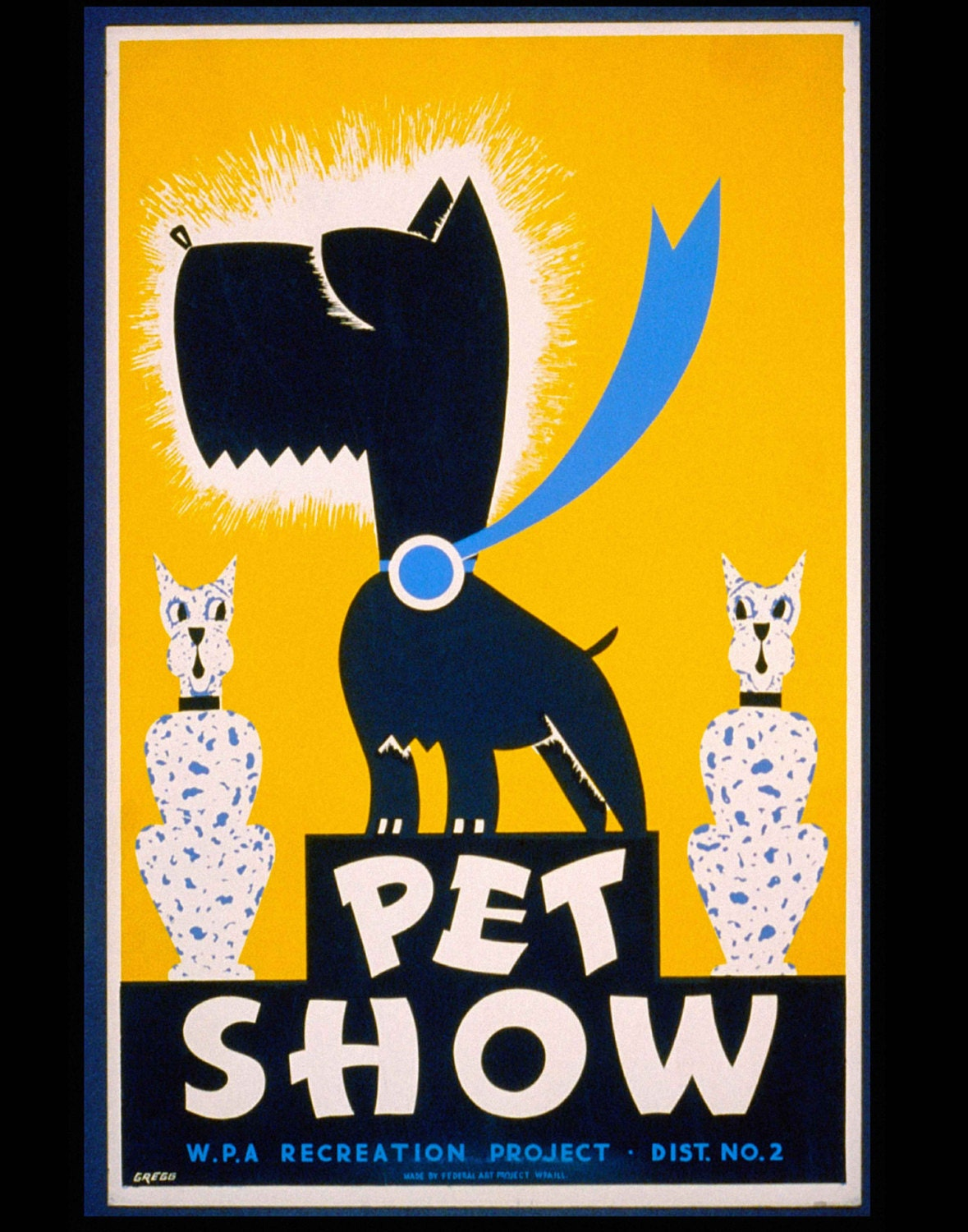 Pet Show 1930s WPA Poster Art Print Scotty Dog Scottish | Etsy