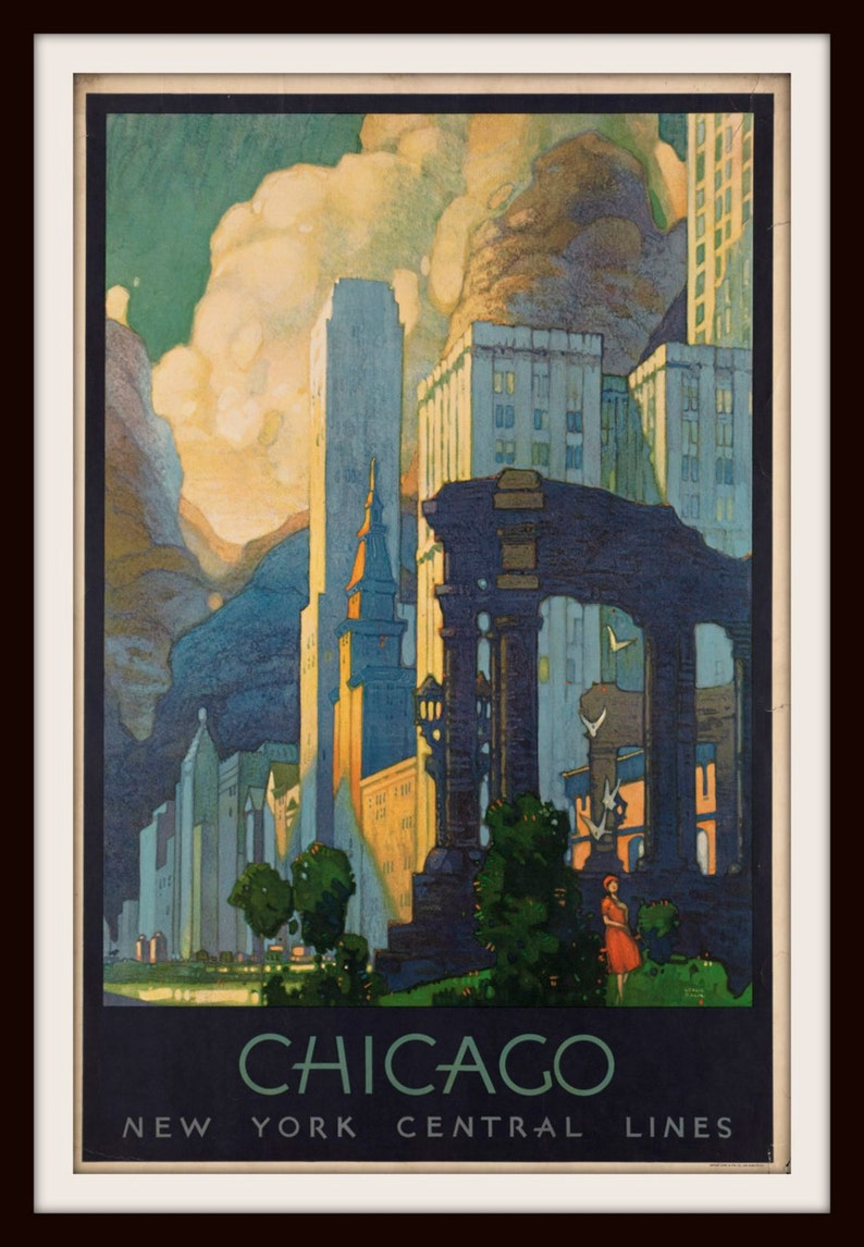 Art Deco Poster New York.Chicago New York Train Travel Poster Giclee Art Re Print Chicago Wall Art Art Deco Chicago Print Vintage Chicago Old Time Chicago