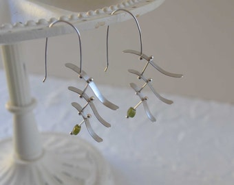 Stacked waves earrings, argentium silver sculpture