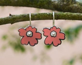 Silver enamel rose flower earrings, kinetic sculpture
