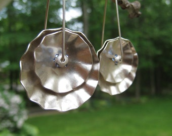 Dappled disk earrings, sculptural sterling artwork