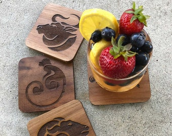 """Coasters for Animal Lovers - Acrylic and Wood - Size: 3 3/4"""" x 3 3/4"""" x 1/8"""" inches"""