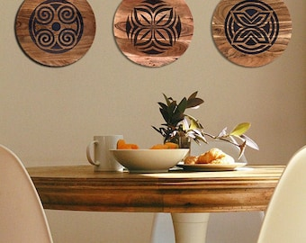 Plater/Server/Tray - Acadia Wood - African Adinkra Symbols: Fawohodie (freedom & independence) and Asase Ye Duru (nurturing the earth)