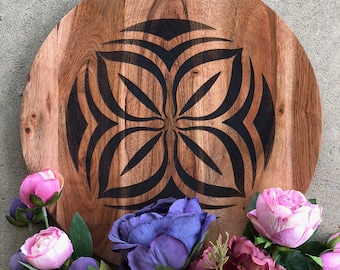 Plater/Server/Tray - Acadia Wood - African Adinkra Symbols: Asase Ye Duru (nurturing the earth), Fawohodie (freedom) & Nserewa (prosperity)