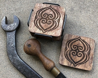 """Wood Coasters - African Adinkra - Asase Ye Duru (a symbol of the preservation of the earth) - Size: 4"""" x 4"""" x 1/4"""" inches"""