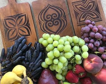Cutting Board/Server, African Adinkra: Asase Ye Duru (Earth & Nature), Dwennimmen, Fawohodie (freedom), Nserewa (Prosperity)