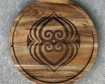 Lazy Susan - African Adinkra Symbol - Acadia Wood - Asase Ye Duru (Mother Earth or  Fawohodie (a symbol of freedom) Symbol - Laser Engraved