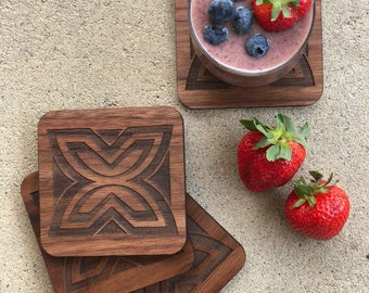 """African Adinkra Symbol Wood Coasters - Fawohodie (a symbol of freedom) and Nsaa (a symbol of excellence) - Size: 4"""" x 4"""" x 1/4"""" inches"""