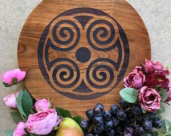 Wood Plater/Server/Tray - African Adinkra Symbols: Dwennimmen, Fawohodie (freedom & independence) and Asase Ye Duru (nurturing the earth)