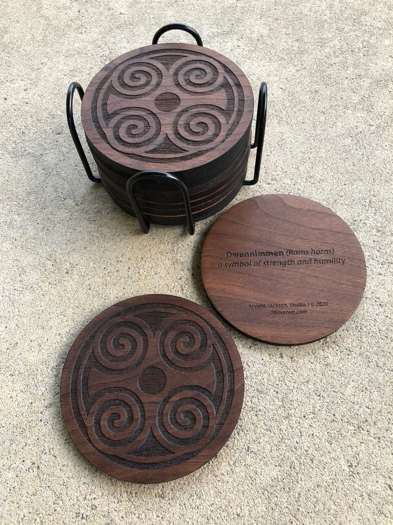 African Adinkra Round Wood Coasters  Dwennimmen strength and 8 Coasters & Stand