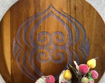 Cutting Board, Server or Tray - Acadia Wood - African Adinkra Symbol - Asase Ye Duru (a symbol of the nurturing the earth)  - Laser Engraved