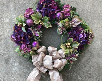 Wreath Decorated for the Entryway - with Purple and Magenta, Hydrangeas Flowers, Gold Berries and Leaves