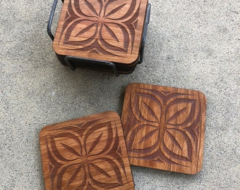 """Coasters - Nserewa is a symbol of abundance, wealth and prosperity - Size: 4"""" x 4"""" x 1/4"""" inches"""
