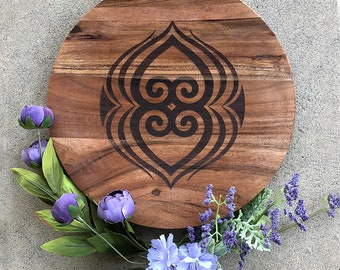 Charger/Server/Tray - Acadia Wood - African Adinkra Symbol - Asase Ye Duru (a symbol of the nurturing the earth)  - Laser Engraved