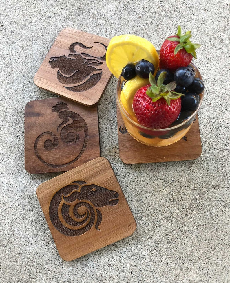 Coasters  Acrylic and Wood  Size: 3 3/4 x 3 3/4 image 0