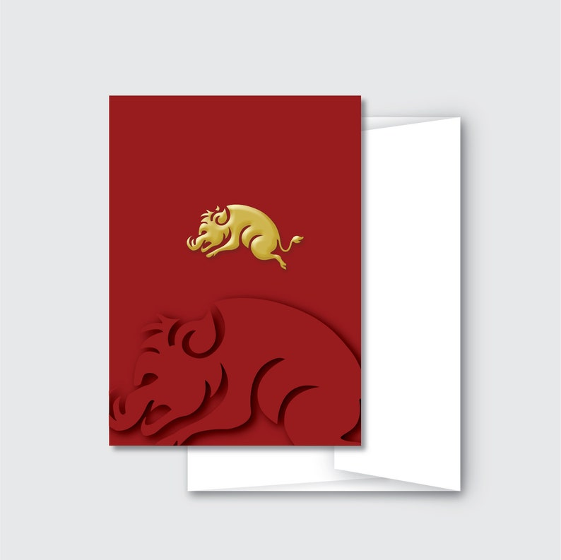 Year of the Boar/Pig Greeting Cards  Chinese New Year 2019  image 0