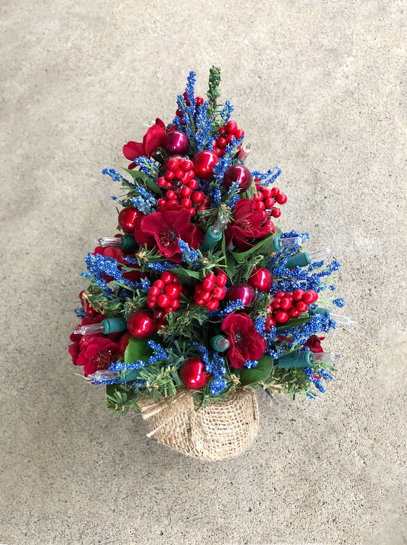 Decorated Holiday Christmas Tree  Red & Blue Flowers and Red image 0