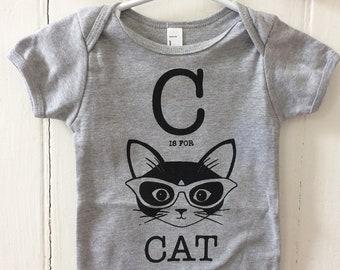 Grey C is for Cat Short Sleeve Onesie Cotton