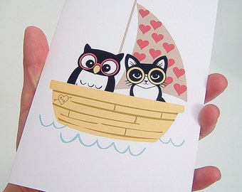Owl and Pussycat in Their Love boat Greeting Card