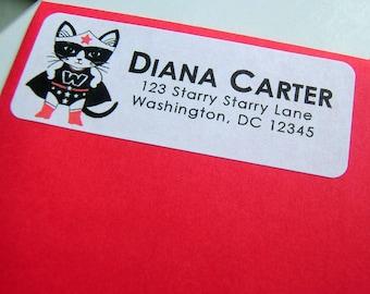 Wonder Kitty Address Labels - set of 30