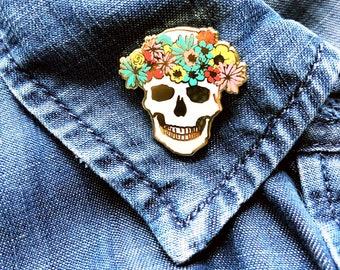 skull enamel pin, birthday gift for her, flower crown skull brooch, hard enamel pin, best friends lapel pin, pastel goth skull accessories