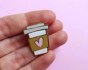 coffee lover pin hard enamel pin for her valentines day gift for mom coffee cup pin best friend valentine lapel pin gift for her pink heart