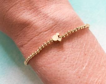 gold mickey mouse bracelet, dainty disney inspired jewelry, disney park style, gold beaded bracelet, personalized gift for her, kids jewelry