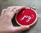christmas gift embroidery hoop art joy christmas decoration ornament small red linen fabric hoop advent wall art holiday decor 3 inch hoop
