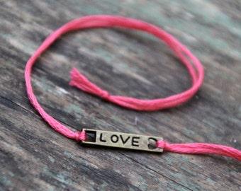 valentine love bracelet personalized friendship bracelet custom jewelry bronze wish bracelet wishlet best friend valentines day gift
