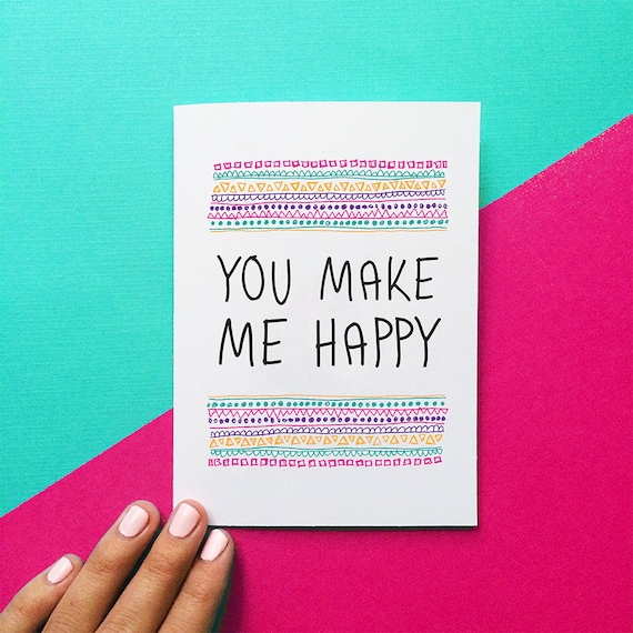 Romantic Valentine Card You Make Me Happy Quote Card Birthday Etsy Adorable Quotes Valentines Day Funny