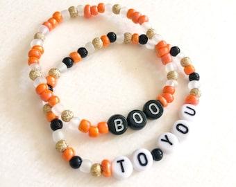 boo to you halloween bracelet set, disney inspired stacking bracelets, black and orange jewelry, disney parks style, custom word bracelets