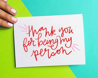 mother's day card for mom, thank you for being my person, best friend gift for her, grey's anatomy anniversary card, birthday card