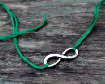 valentines day gift friendship bracelet emerald green infinity jewelry best friend gift for him wish bracelet wishlet silver jewelry