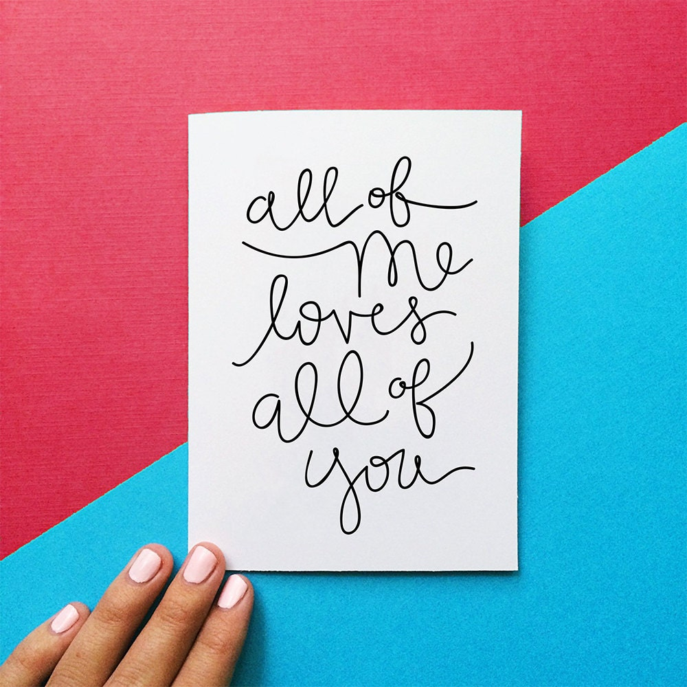 valentine card all of me loves all of you quote card   Etsy