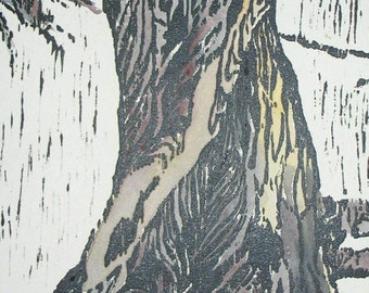 Reserved - Woodcut l, original hand-pulled print 22 x 15 watercolor trees expressionist blue brown