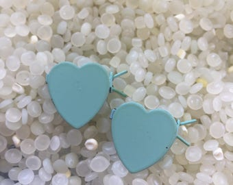 Vintage barrette,  enamel hearts, teeny tiny , blue hearts, doll barrettes, blythe