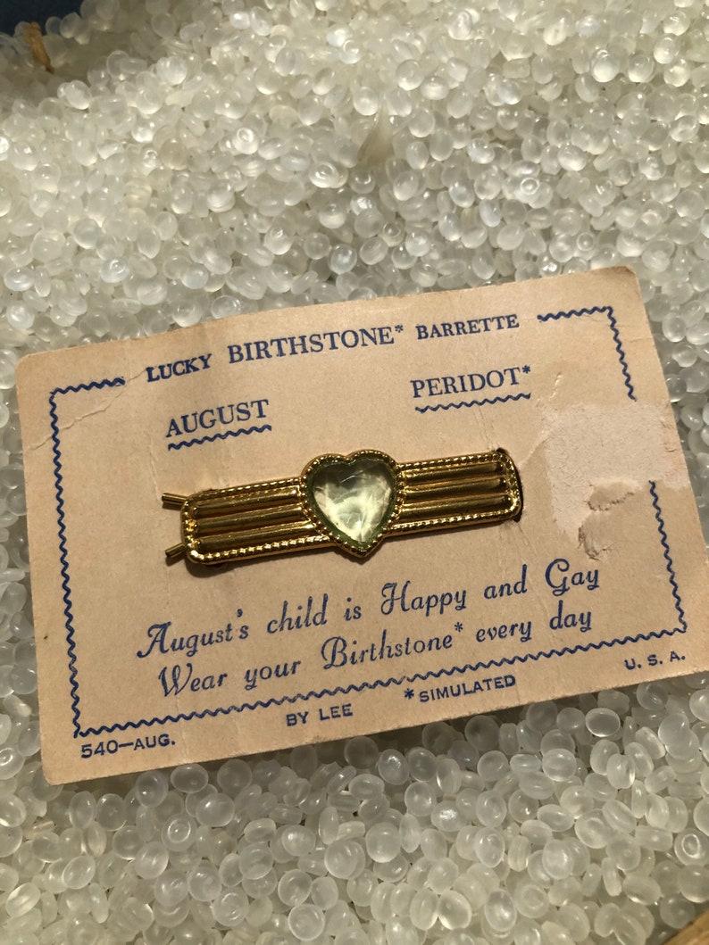birthday stone gold tone vintage hair barrette still on store card August vintage 1940s barrette peridot