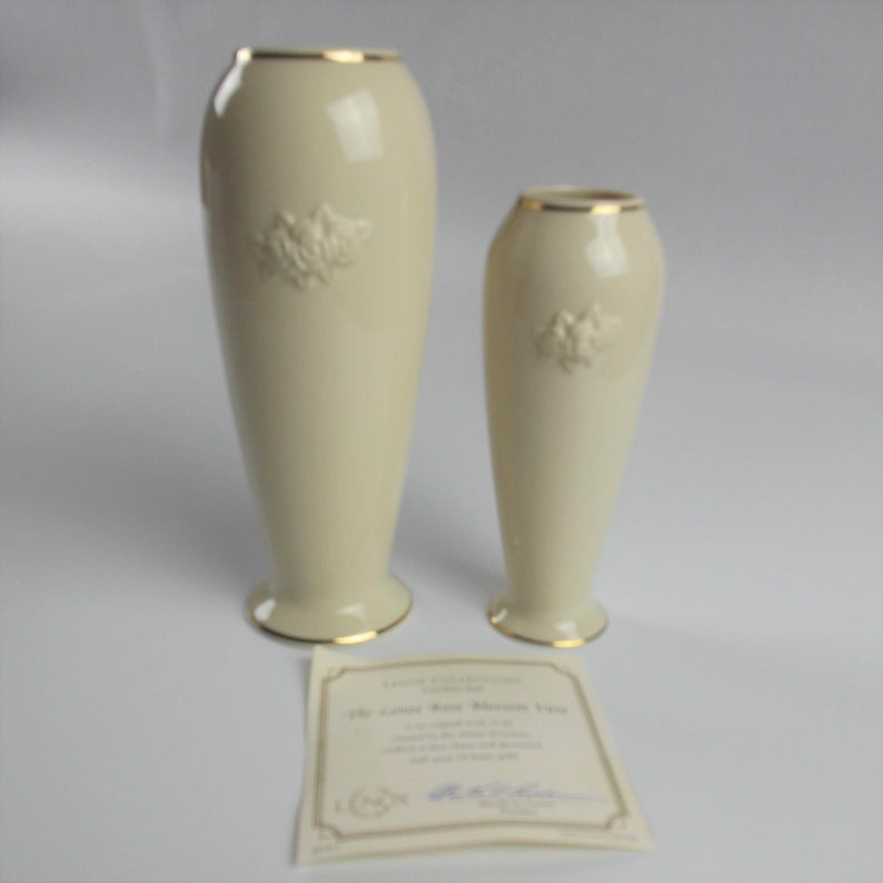 Lenox Rose Blossom China Vases Set 2 Matching with 24K Gold Trim Handcrafted Vintage