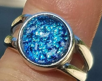 Sterling Silver Cremation Jewelry Ring Size 7 Ashes InFused Glass Memorial Glass  Pet Urn Sympathy Gifts