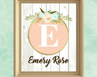 Baby girl nursery wall art peach mint gold nursery decor personalized baby gift for baby wall art girl floral letter art custom name print