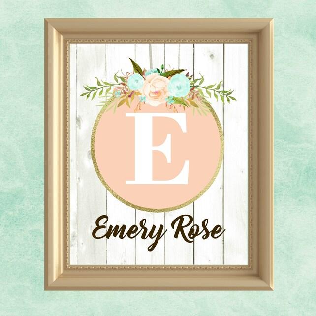 Baby girl nursery wall art peach mint gold nursery decor | Etsy
