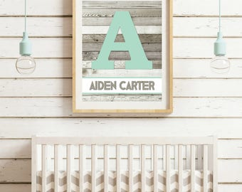 Personalized Baby Boy Nursery Wall Art Woodlands Nursery Child Wall Art Rustic Mint Gray Nursery Gift For Baby Shower Gift New Mom Gift