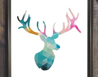 Geometric Deer Printable, 8x10 Instant Download, Deer Wall Decor, Deer Print, Deer Wall Art, Animal Print, Teal Gray Deer Printable Wall Art