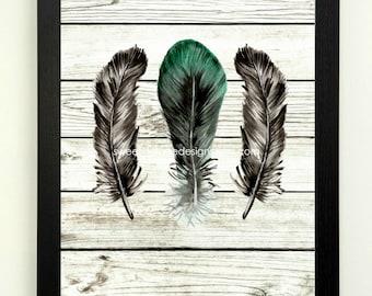 Feather Art Print, Modern Tribal Art, Feather Printable, 8x10 Instant Download, Modern Wall Decor, Black Green Feather Art, Boho Decor