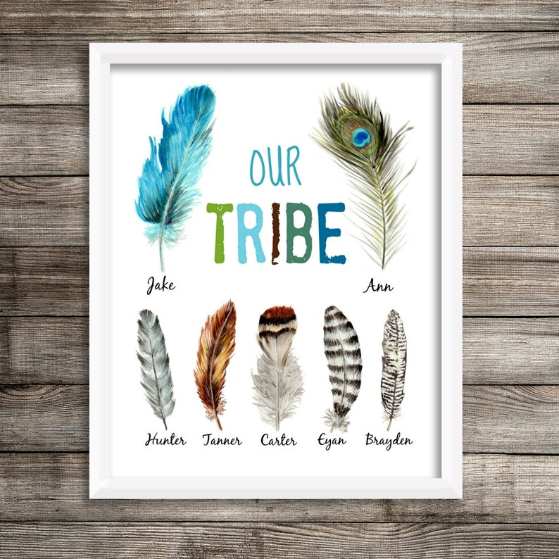 e28aaf08797574 Boho Tribal Print Personalized  Our Tribe  Wall Art