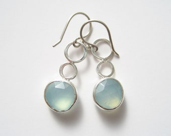 Chalcedony Gemstone Hammered Sterling Silver Earrings